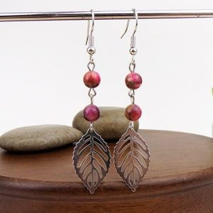 NEW!🔥 Pink Brown Tiger Eye Bead Leaf Earrings
